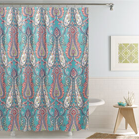 Anastasia Blue And Coral Shower Curtain At Home