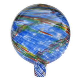 Picture of Blue & Red Swirl Glass Ball - 10-in