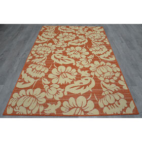 Picture of E126 Terracotta Miami Floral Rug