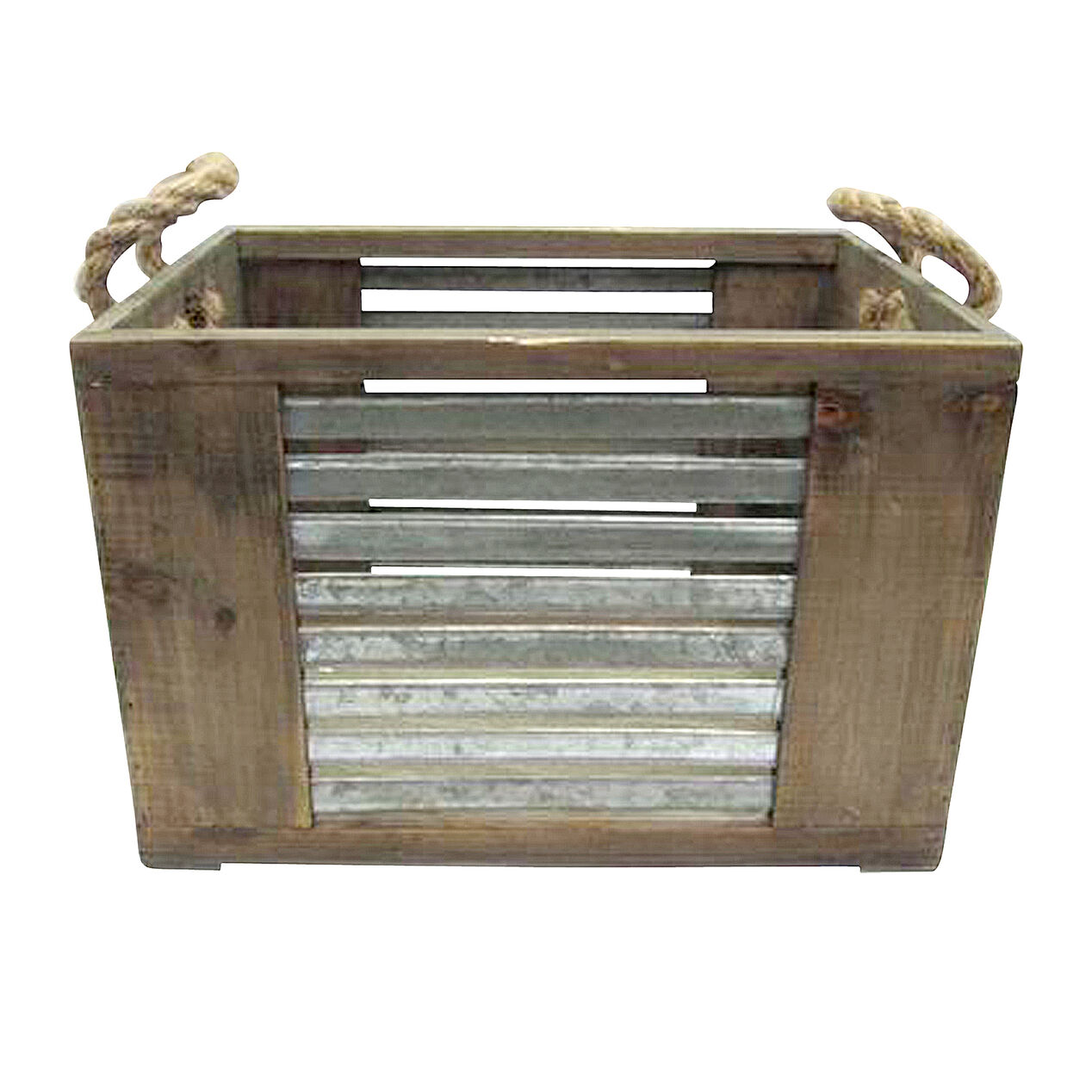 Wooden Crate With Handles Wood Crate W Metal Stripes And Rope Handles At Home