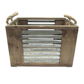Picture of Wood Crate W/ Metal Stripes and Rope Handles