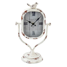 Picture of Metal Tabletop Bird Clock in White- 16-in