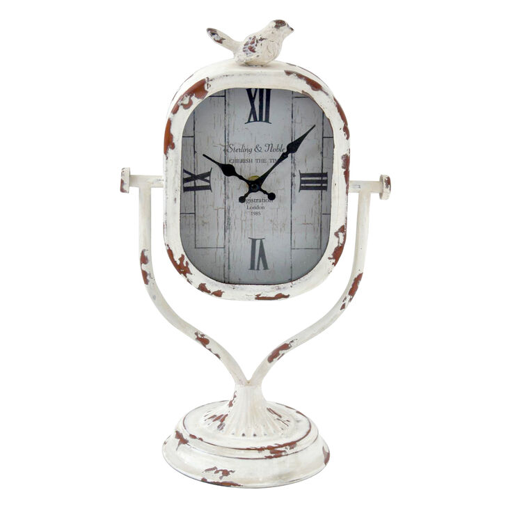Metal Tabletop Bird Clock in White- 16-in