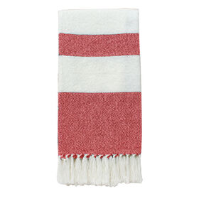 Picture of White and Coral Native Stripe Throw 50 X 60-in