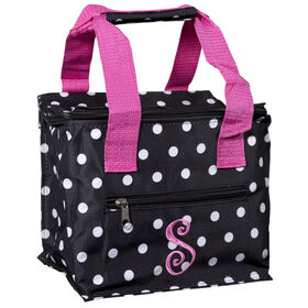 Picture of Square Monogrammed Lunch Tote, Black with White Polka Dots