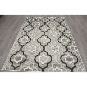 Picture of B281 Grey and Black Maya Trellis Moroccan Rug