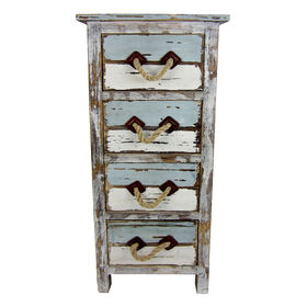 Picture of Distressed Blue and White 4-Drawer Cabinet