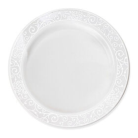 Picture of 10.25-in Venetian White and Silver Plates - set of 10