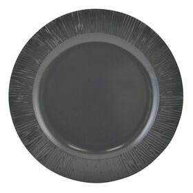 Picture of Yellow and Gray Melamine Dinner Plate - Dark Gray