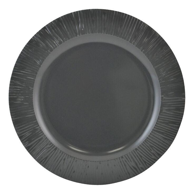 Yellow and Gray Melamine Dinner Plate - Dark Gray