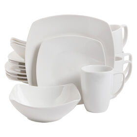 White 16-Piece Soft Square Dinnerware Set