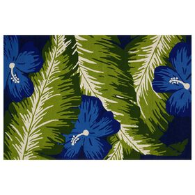 Picture of E159 Green and Blue Hibiscus Rug