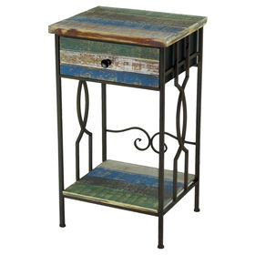 Wood and Metal Side Table with Drawers 16X28