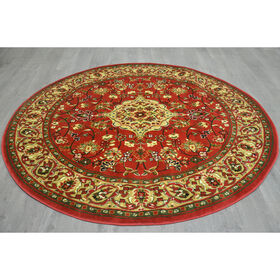 Picture of D26 Red Floral Medallion Round Rug- 8 ft