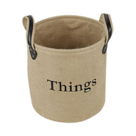 Picture of Round Burlap Basket with Ear Liners - Large