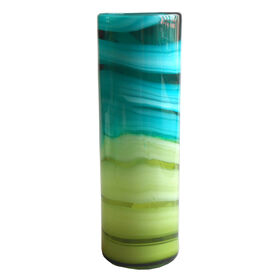 Picture of Blue & Green Glass Cylinder Vase- 14-in