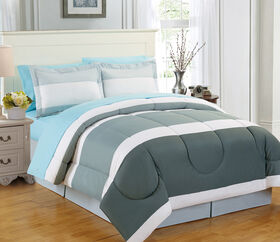 Picture of Gray Gradient Stripe Bed-in-a-Bag Set, King