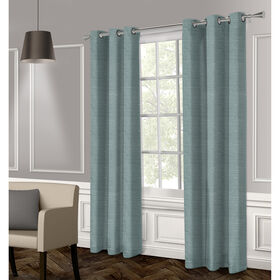 Picture of Raw Silk Textured Grommet Curtain Panel- Blue 96-in