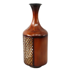 Picture of Brown Cross Stitch Metal Vase 19.5 in.