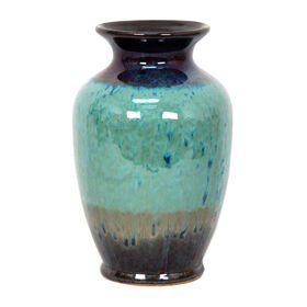 Picture of Large Rim Teal Drip Glaze Vase 11.1-in