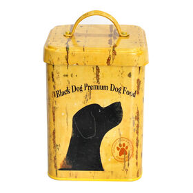 Picture of Vintage Yellow Square Dog Food Treat Canister