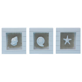 Picture of Assorted Nautical Burlap Shadowbox Art- 6 x 6-in