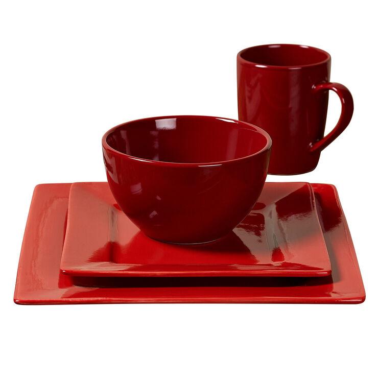 16-Piece Square Ceramic Dinnerware Set, Red