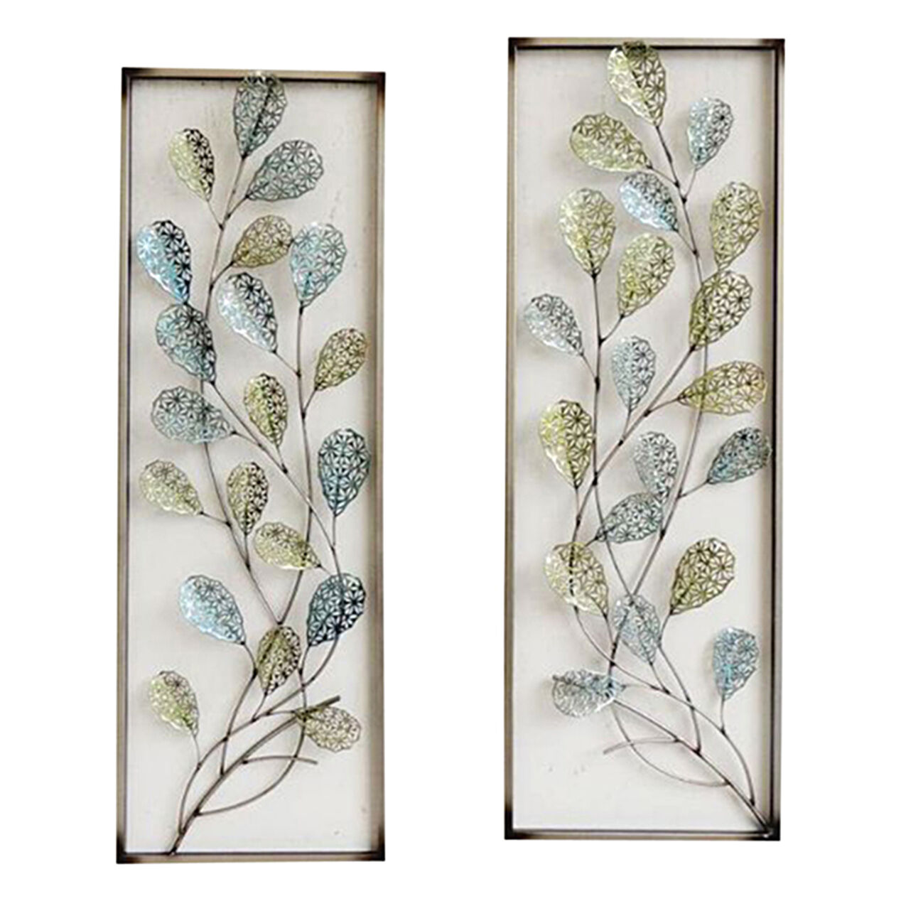 12 x 35 in framed filigree leaf wall d cor at home for Decorative wall decor