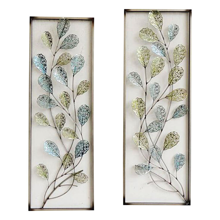 12 x 35 in framed filigree leaf wall decor at home for Leaf wall decor