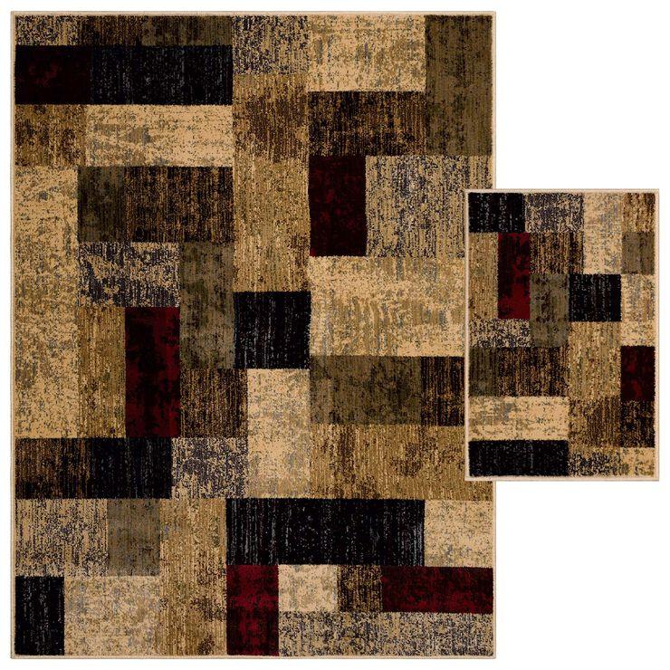 Ivory/Multi Block 2 pc Woven Rug Set