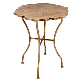 Picture of Bronze Gold Metal Flower Accent Table- 28-in