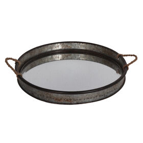 Picture of Galvanized Glass Top Tray with Rope 16-in
