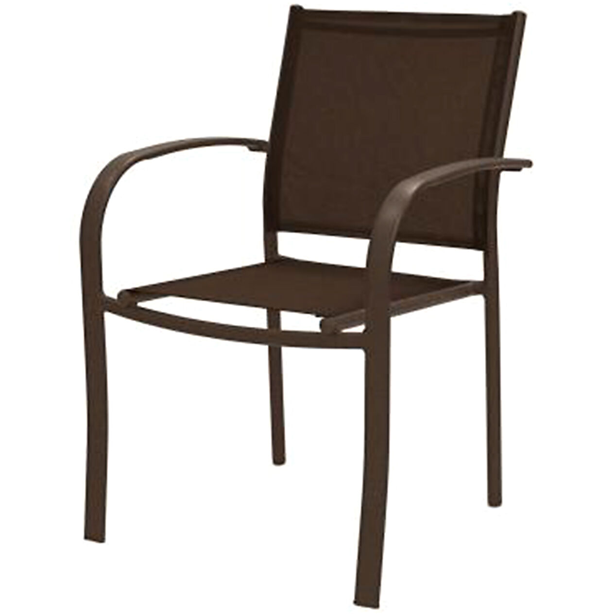 brown sling low back outdoor patio chair at home
