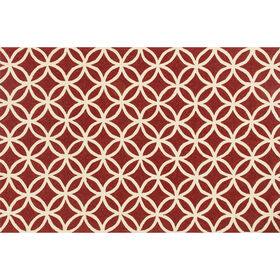 Picture of Indoor & Outdoor Red and Ivory Geometric Beach Rug 5 X 8 ft