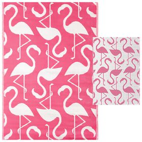 Picture of Pink Flamingo Outdoor Woven Area Rug 5X7
