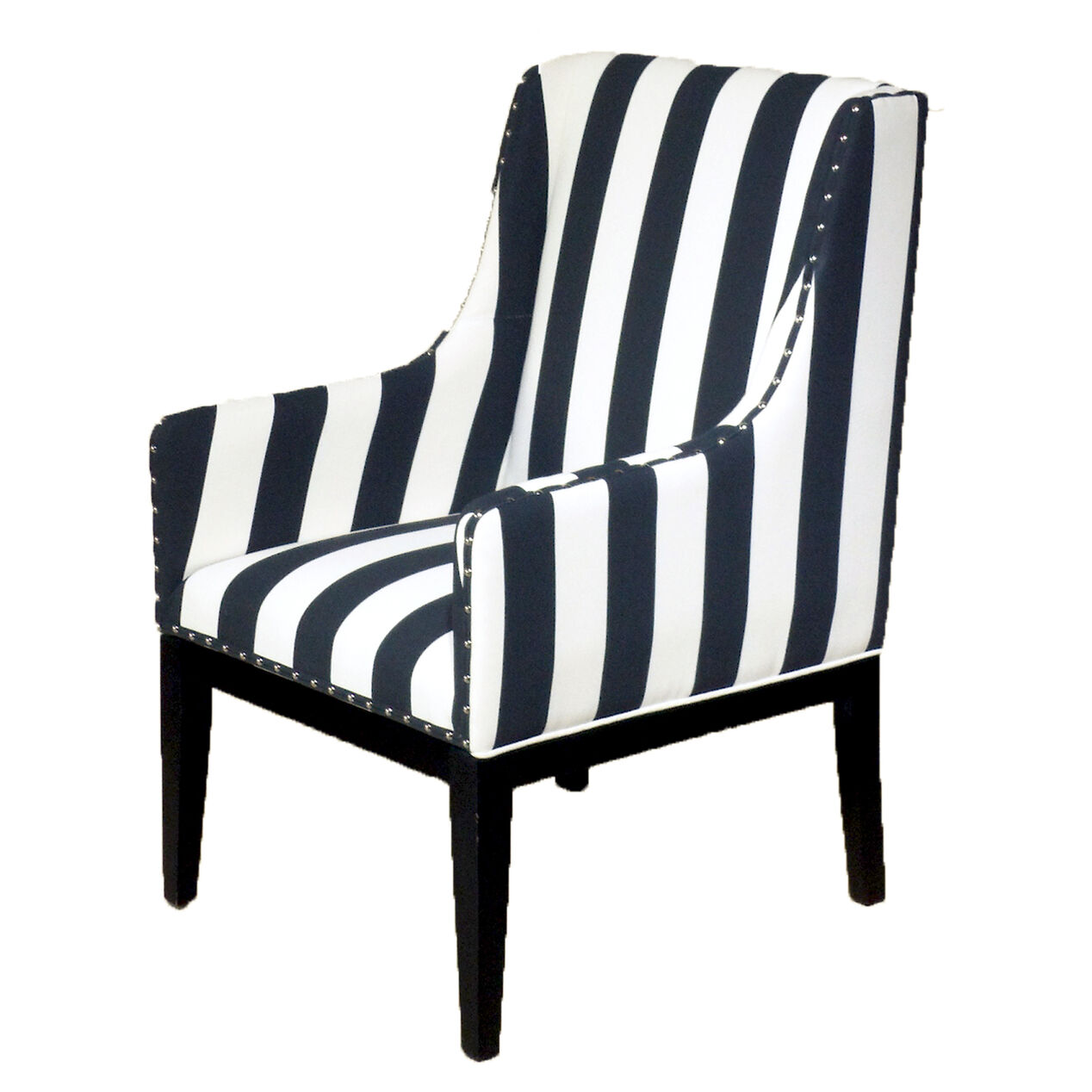 Black and white striped sargon chair at home