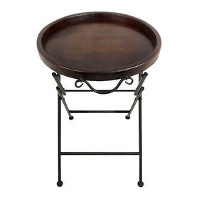 Picture of Round Wood Folding Tray Table