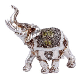 Picture of Silver Elephant with Saddle Figurine- 7.2-in