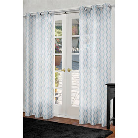 Bombay Sheer Curtain Panel Teal 84 In At Home