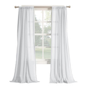 Hendricks White Gauze Sheer Window Curtain Panel 84-in