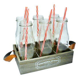 Picture of Country 7 Piece Milk Bottles with Tray