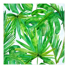 Picture of Green Palm Leaves Canvas Wall Art- 18x18 in.
