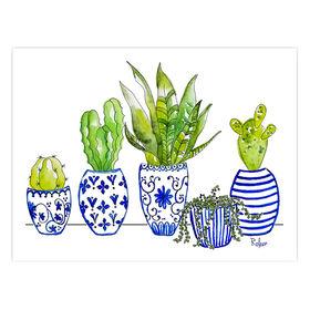 Cactus in Blue & White Pots- 12 x 16-in