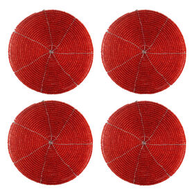 Picture of Red Beaded Coasters, Set of 4