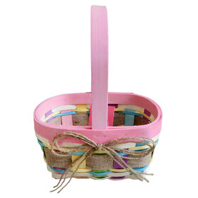 Picture of Small Pink Wood Chip Basket with Burlap