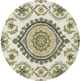 Picture of Layla Ivory & Aqua Ornament Accent Rug 3 X 3 ft