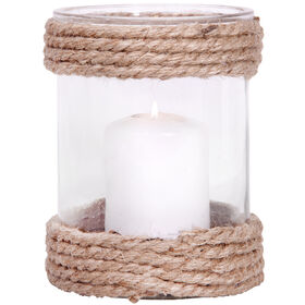Picture of Round Rope Glass Hurricane Candle Holder- 8.2-in