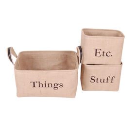 Picture of Large Rectangular Burlap Basket with Ear Handles
