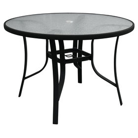 Round Black Steel Table with Glass Top - 42 in.