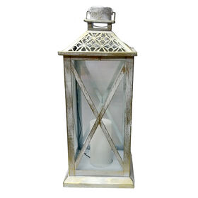 Picture of White Metal Lantern with Cutout Top- 20-in
